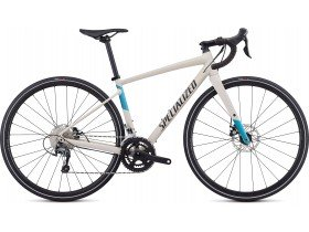 Specialized Women's Diverge E5 Elite 2019 Adventure Road Bike in Satin White Mountains, Tropical Teal, Nice Blue and Black