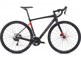 Specialized Diverge Sport 2019 Adventure Road Bike in Satin Tarmac Black and Flo Red